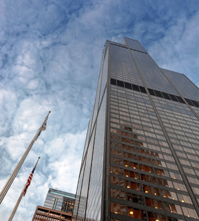 Chicago, IL, USA, october 28, 2016: bottom view of Willis Tower skyscraper in Chicago Editorial