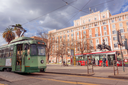 Rome, Italy, february 11, 2017: ancient tram standing in Piazza Risorgimento bus terminal, Rome, Italy