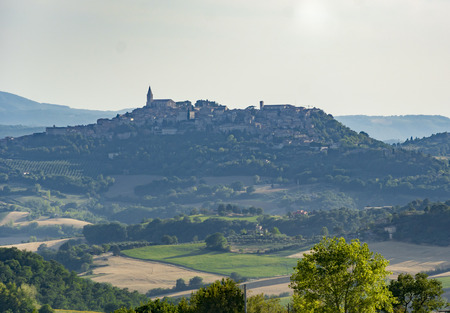 Panoramic view of the countryside around the city of Todi in Umbria, Italy Stock Photo
