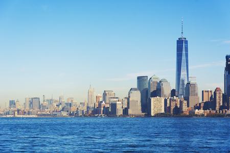 New York landscape skyline viewed from Liberty island