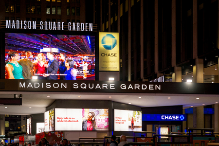New York, USA, november 2016: main entrance of the famous Madison Square Garden in New York