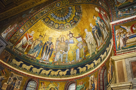 Rome, Italy, March 2017: mosaic detail of the apse of the church of Santa Maria in Trastevere in Rome