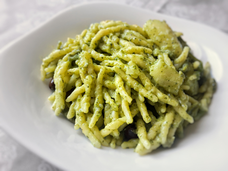 Traditional trofie with Italian pesto sauce