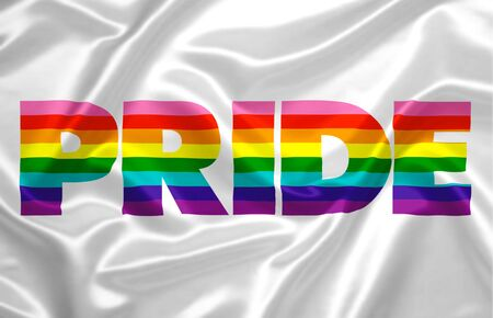 "the word ""pride"" composed with the colors of the rainbow printed on a silky fabric."