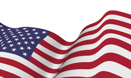 the US flag flapping in the wind. Vector illustration. Election day and 4th of July holiday Vector Illustration