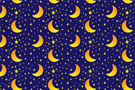 seamless pattern with rising moon and stars on a night blue background. Vector graphics. Abstract backdrop