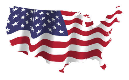 the US flag flapping in the wind on the nation map. Vector illustration. Election day and 4th of July holiday