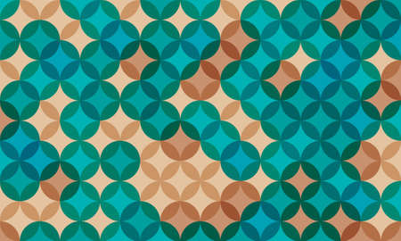 geometric pattern background composed by a sequence of overlapped circles with different colors. Repetitive geometric theme.