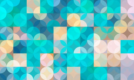 geometric pattern background composed by a sequence of overlapped squares, circles and triangles with different colors. Repetitive geometric theme. Illustration