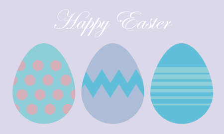 abstract vector illustration composed of three decorated easter eggs with different decorations on a pastel-colored background. Seasonal theme. Religious celebration