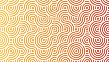 geometric seamless pattern background composed by a sequence of overlapped waves, circles and squares with different warm colors. Repetitive geometric theme. Illustration