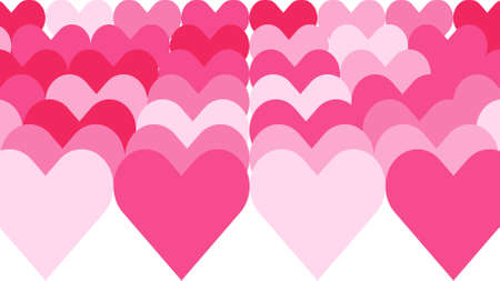 Romance background consisting of a series of hearts arranged on a white background and colored with various shades of pink. Vector background in 4k resolution