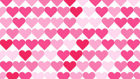 Seamless background consisting of a series of hearts arranged geometrically on a white background and colored with various shades of pink.