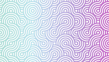 geometric seamless pattern background composed by a sequence of overlapped waves, circles and squares with different cold colors. Repetitive geometric theme. Illustration