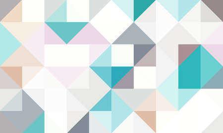 geometric pattern background composed by a sequence of overlapped squares and triangles with different colors. Repetitive geometric theme.