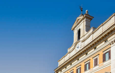 detail of the bell tower of the montecitorio palace in rome, seat of the chamber of deputies of the italian republic. Politics and democracy. Baroque architecture Editorial