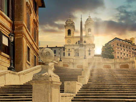 The Spanish Steps in Rome without people and tourists at sunset. Famous tourist attraction in Rome