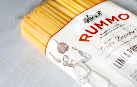Rome, Italy, November 15th 2020: the Rummo logo printed on the transparent package of spaghetti pasta. Famous Italian brand in the pasta market. Illustrative editorial