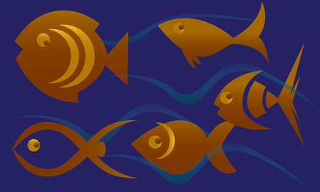 Abstract Gold color fish swim in blue color water layered vector design