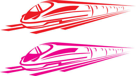 red & pink color train vector on white color background 向量圖像
