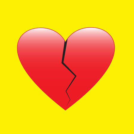 Red color broken heart on white background