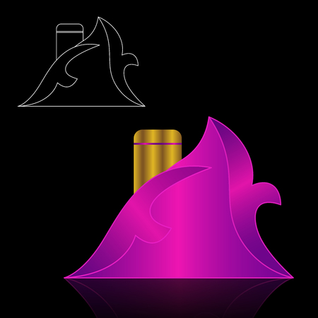 spa collage: Beautiful perfume bottle and Packaging. Vector EPS10 illustration.