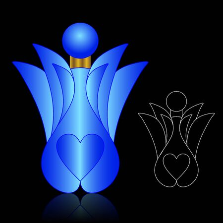 toilette: Beautiful perfume bottle and Packaging. Illustration