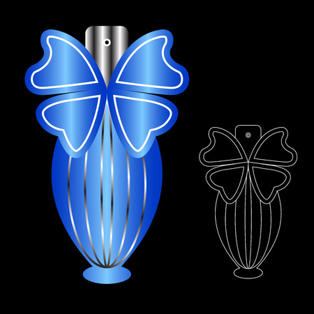 spa collage: Beautiful perfume bottle and Packaging. Illustration