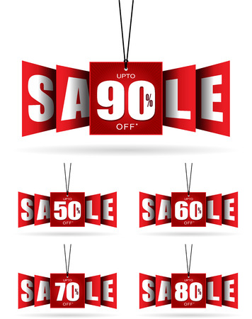 70 80: Vector Hanging Sale Banner, 50%, 60%, 70%, 80%, 90%, Sale Tag