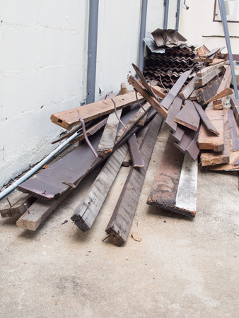 scraps: scraps of wood from house construction