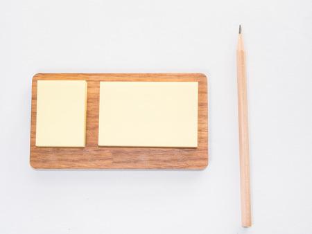 memo: Sticky memo note with pencil Stock Photo
