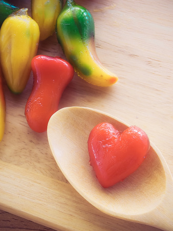 delectable: Filter process of Delectable imitation fruits in Heart shape, Thai traditional dessert