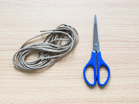 Recycle rope with scissor, Concept for Handicraft or Handicraft creation,