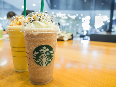 Bangkok, Thailand August 28, 2015: Starbuck in Thailand launch new menus, Mocha Honeycomb Frappuccino and Orange Honeycomb Crunch.