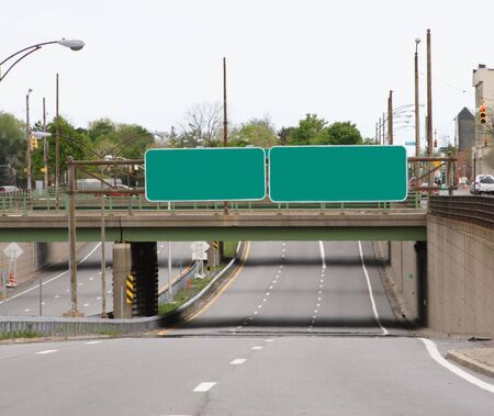 underpass: Highway underpass with blank signs