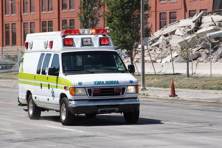 ambulance: Ambulance Rushes to Scene Stock Photo