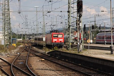 traction: Electric Train approaches the station