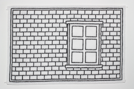 Embroidery with brick wall and window