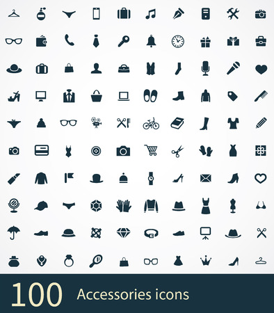 set of accessories icons Stock Illustratie