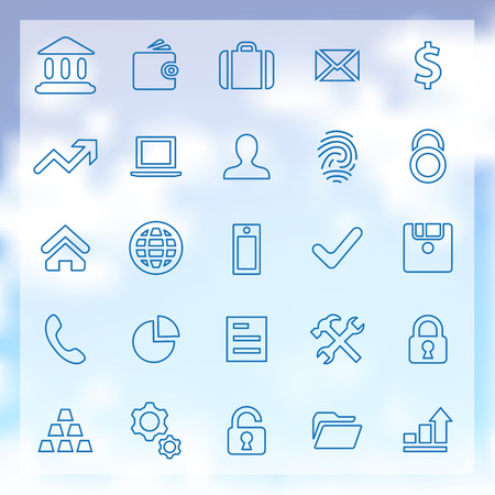 25 outline bank icons set, blue on clouds background Vector