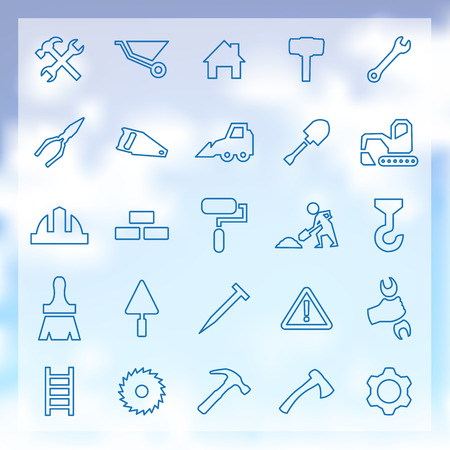 25 outline, construction icons set Illustration