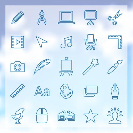 25 outline art, design icons set, blue on clouds background Illustration