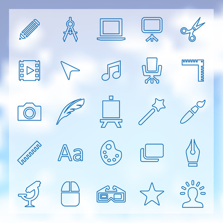 25 outline art, design icons set, blue on clouds background Çizim