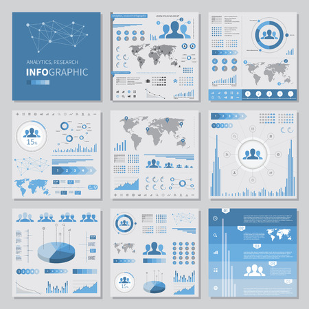 analytics infographics set elements, flat style. info graphics illustrations and icons 向量圖像