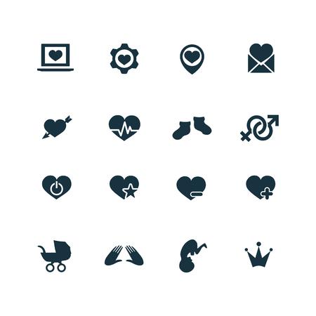 couple, love icons set on white background