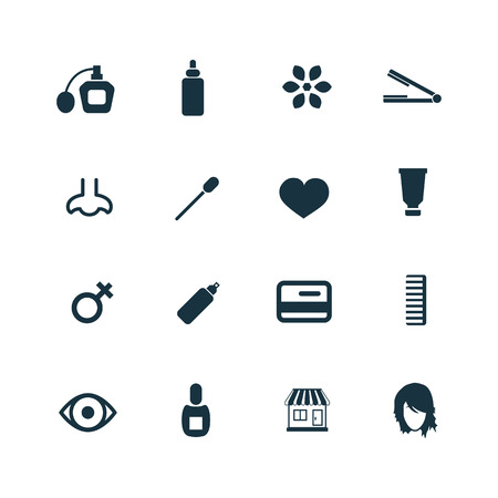 beauty salon icons set on white background