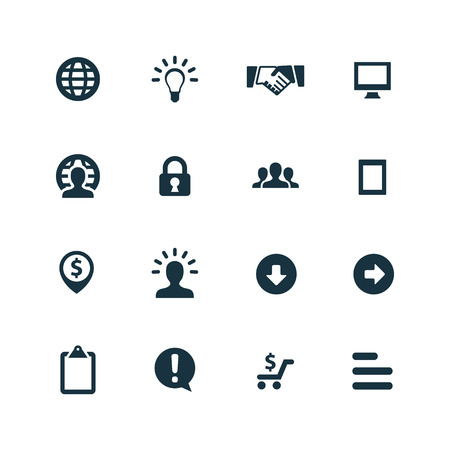 internet business: Business icons set on white background