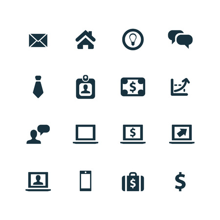 contacting: Business icons set on white background