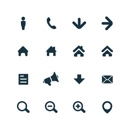 UI Outline For Web and Mobile icons set on white background