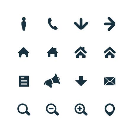 UI-overzicht voor Web en Mobiele die pictogrammen op witte achtergrond worden geplaatst